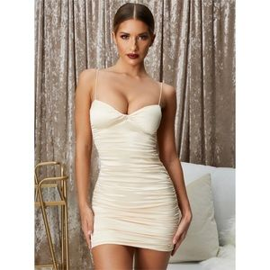 Oh Polly Ruched Champagne Satin Mini Dress 2